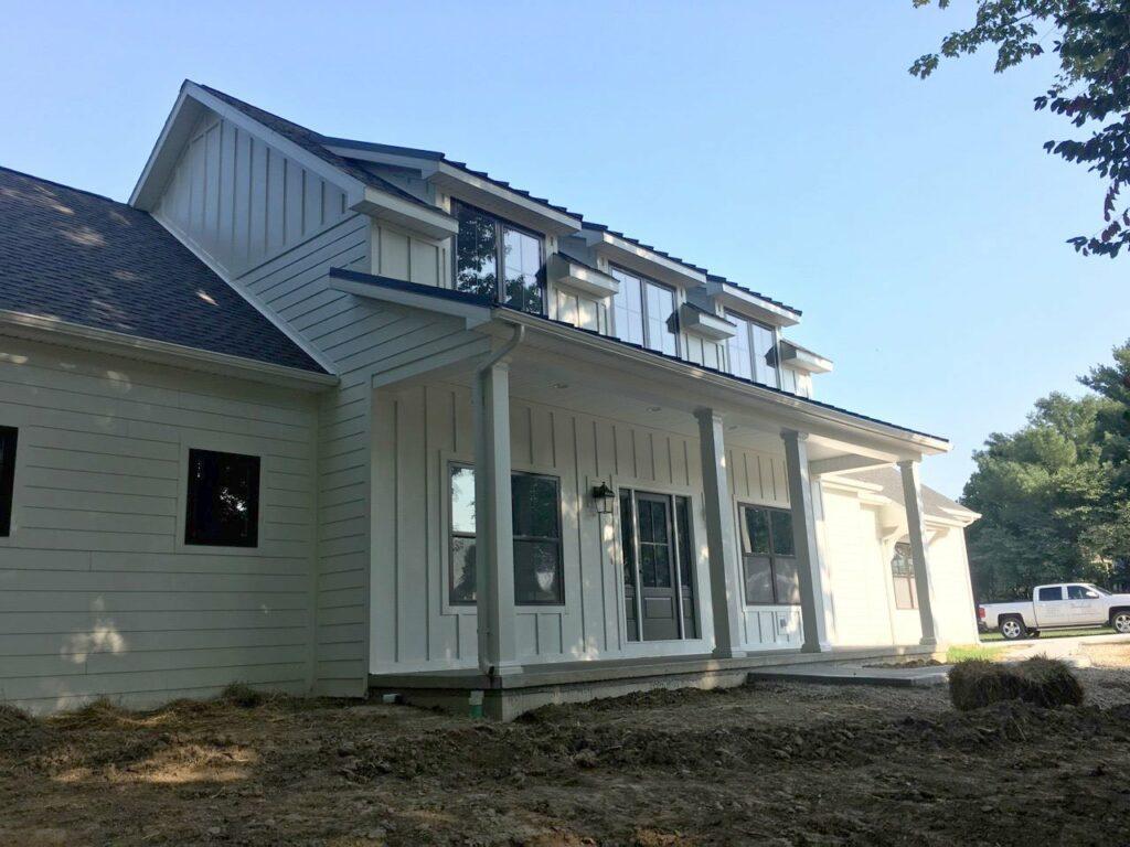 Jasper, IN Custom Home Front Elevation Porch Detail